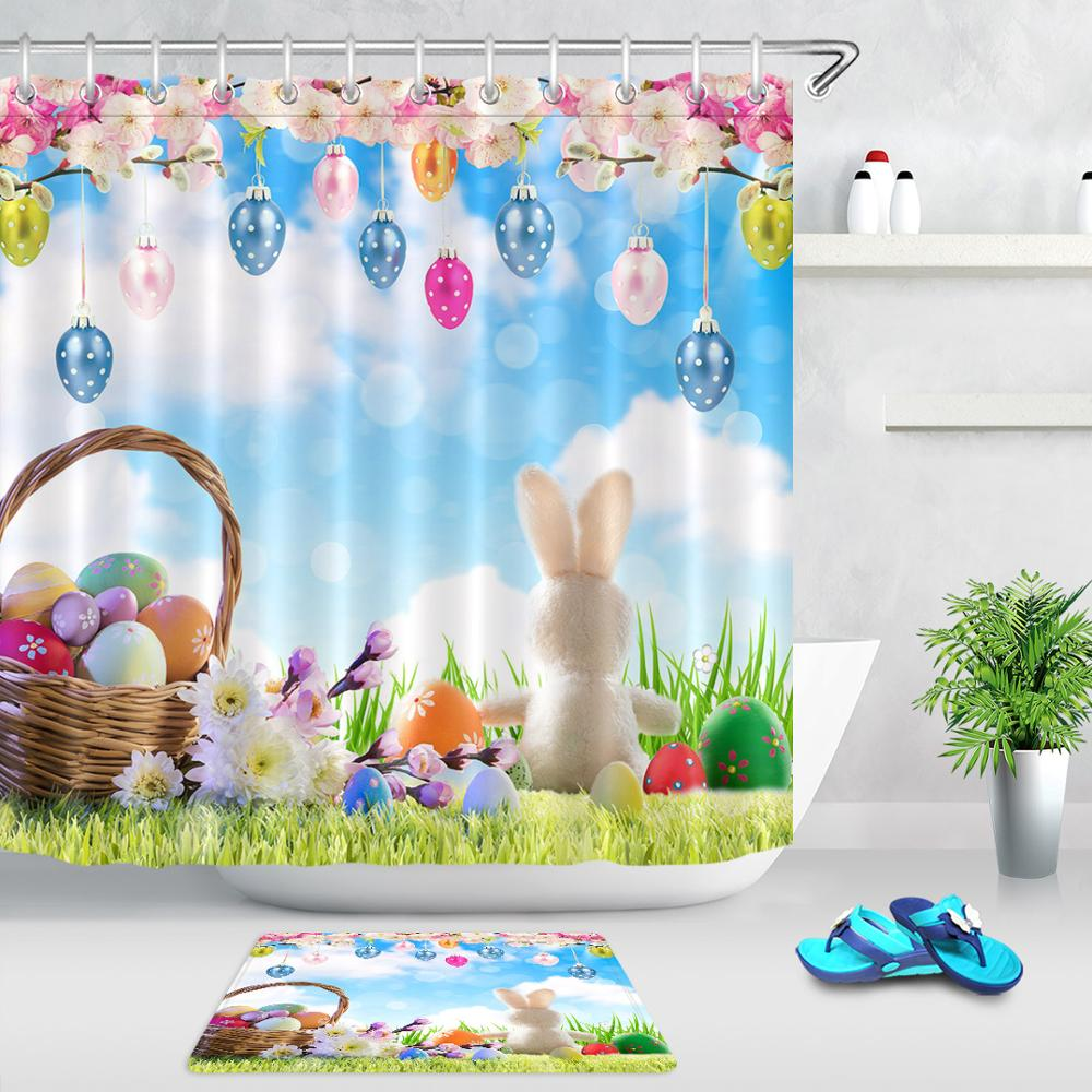 Board Spring Flowers Happy Easter Shower Curtain Set Bathroom Waterproof Fabric