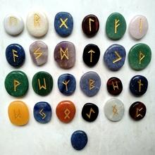 Naturalne kamienie palmowe runy zestaw Palmstones Viking runy Amulet wróżby kamienie Nordic Rune symbole litery Fortune powiedzieć 25 sztuk zestaw tanie tanio Europa Kryształ Mixed stone Multi 25 pcs set About 25*20*5mm