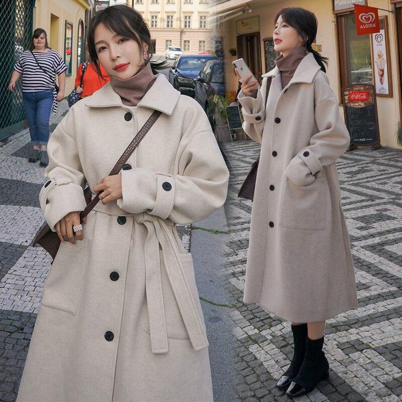 Autumn Winter Woolen Coat Women Korean Elegant Long Overcoat Vintage Solid Color Bandage Jacket Oversize Office Warm Women Coats
