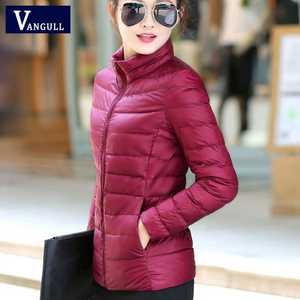 Vangull Women Winter Clothes Basic Jacket Solid Slim Warm Thin Coat 2019 Casual New Style Long Sleeve Zipper Cotton Parkas(China)