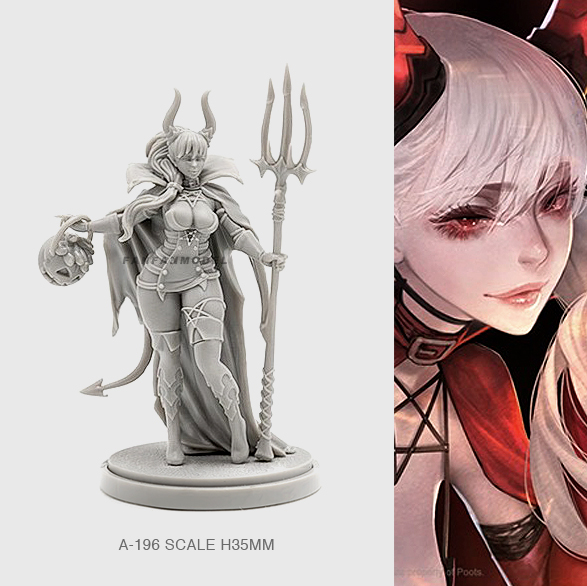 35mm Resin Figure Kits Witch Beauty Model Self-assemlbed A-196