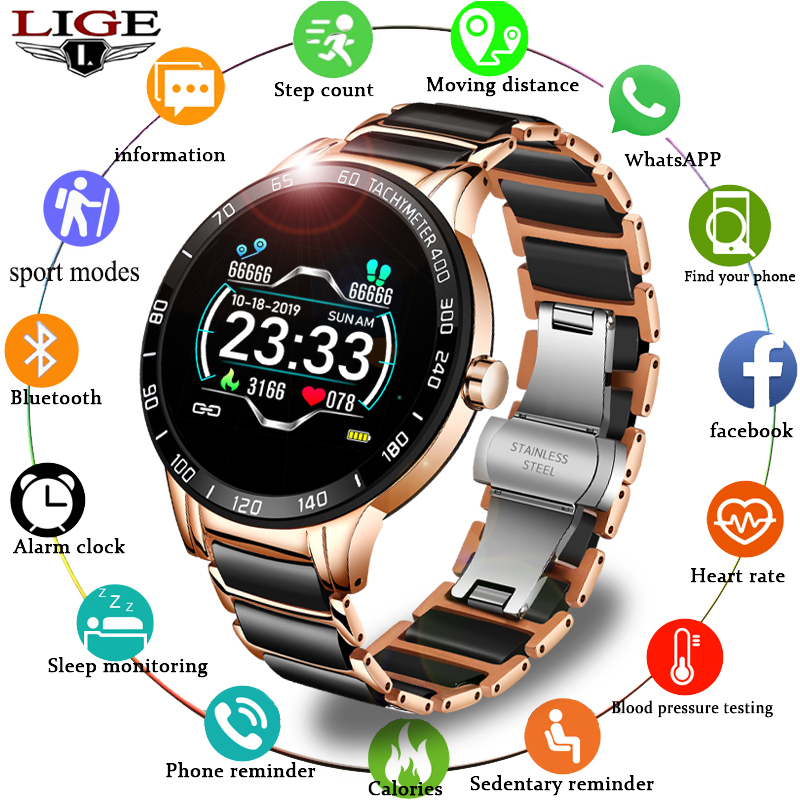 LIGE Ladies Smart Watch heart rate and blood pressure monitoring luxury ceramic strap fitness tracker for Android iOS SmartWatch