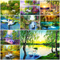 MEIVN DIY Diamond Painting Swans In Beautiful View Full Square Diamond Embroidery Swan Animal Rhinestones Pictures Crafts Kit