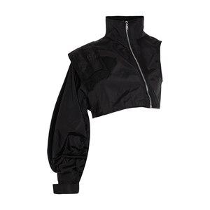 Image 3 - Женская уличная куртка TWOTWINSTYLE, короткая, с воротником стойкой и рукавами фонариками, на одно плечо, ассиметричное пальто, 2020