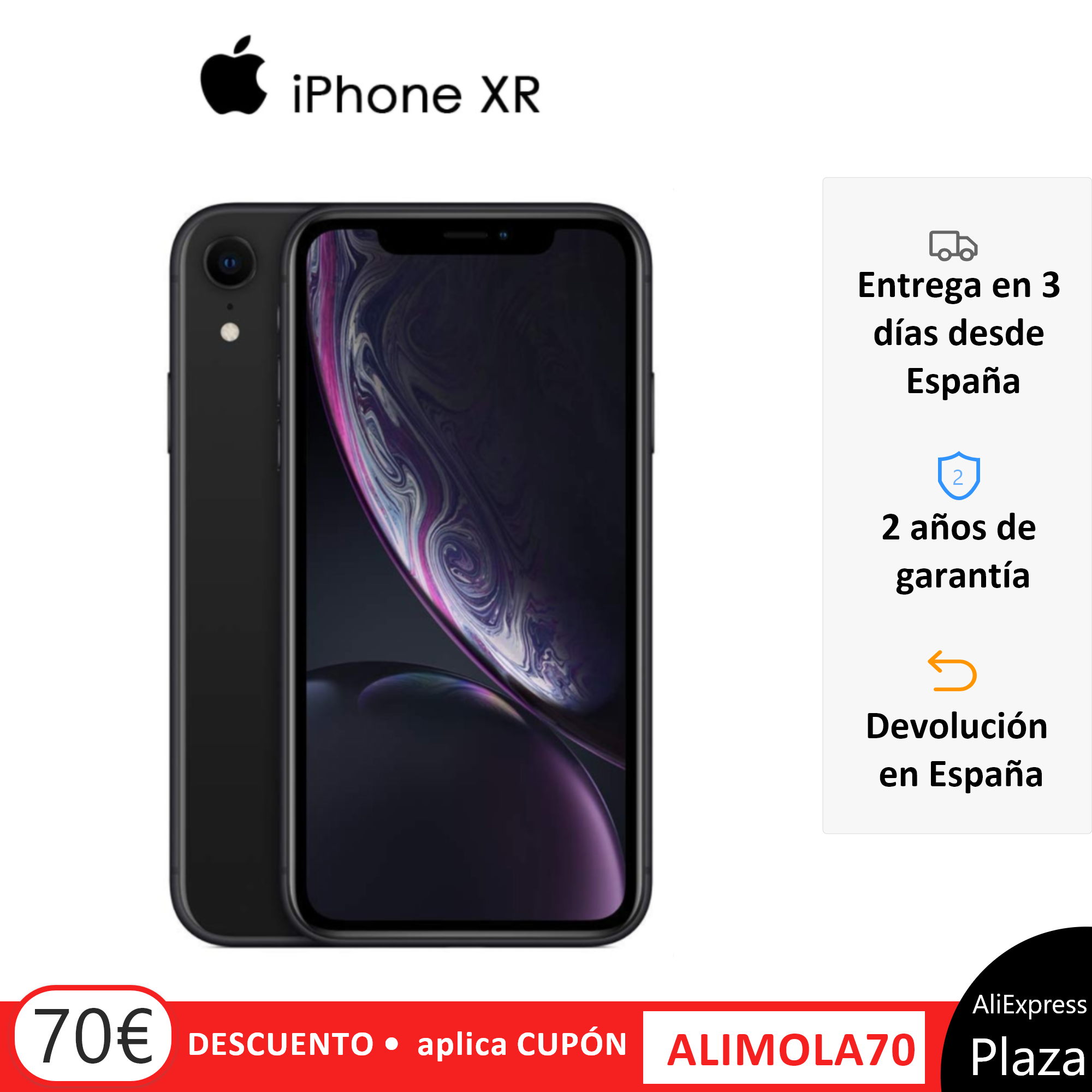 "Smartphone Apple iPhone XR, 64 go, 3 go de RAM, bande 4G/LTE/Wi-Fi, 15,5 cm (pantalon 6.1 ""), couleur noire, versión Española"