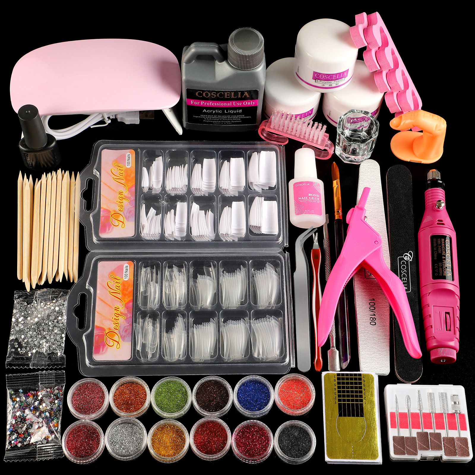 Acrylic Powder Set of Milling Cutters Nail Extension Set All For Manicure Gel Polish Set Nail Art Decorations Tools Nail Kit