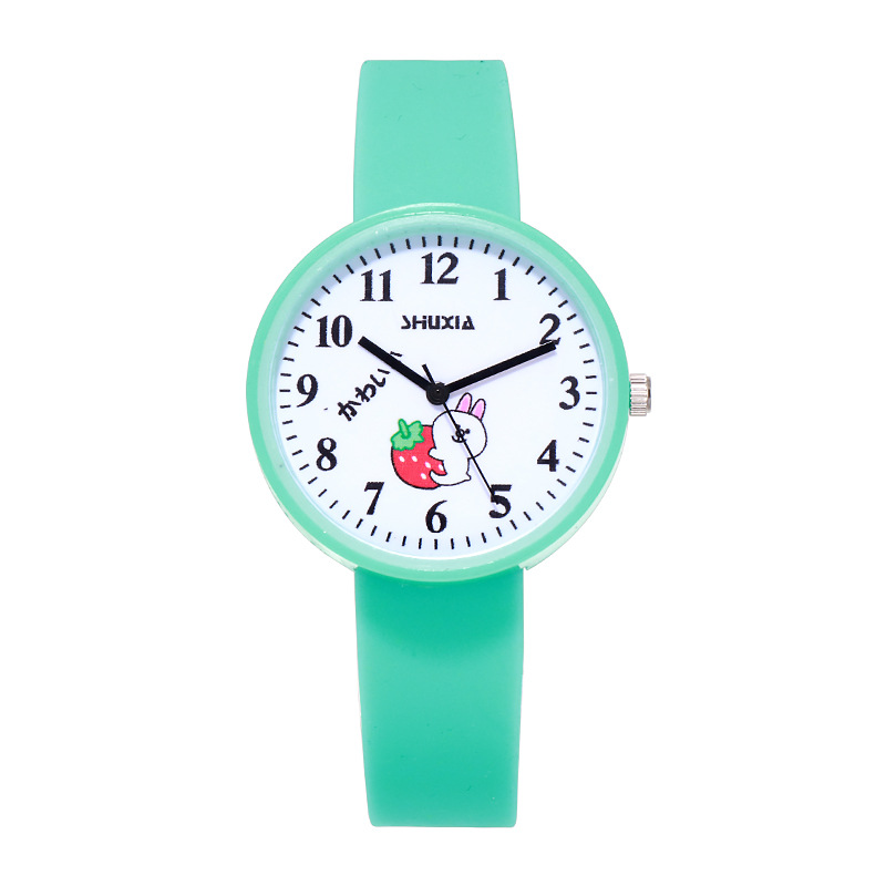 For Student Couple Watch For Green Children's Wrist Watch Safety Silicone Strap Clock Baby Kids Hour Fashion For Young Boy Girl