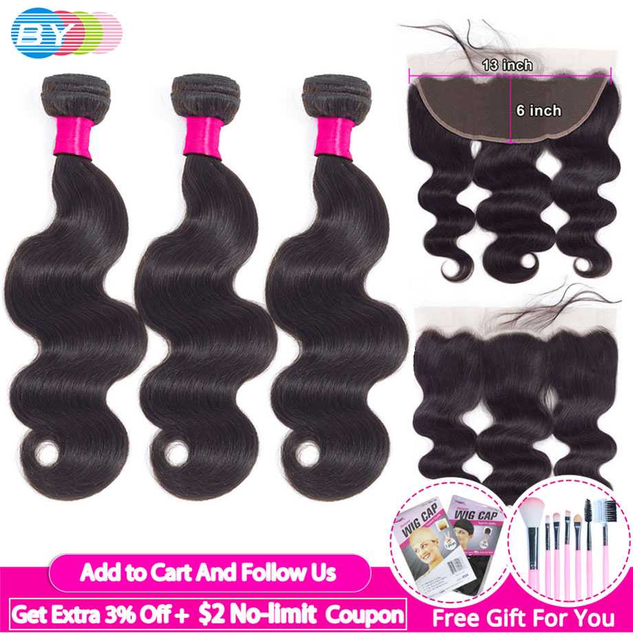 [BY]Bundles With Frontal Body Wave 13x6 Lace Frontal With Bundles Ear To Ear Lace Frontal Closure Brazilian Human Hair Extension