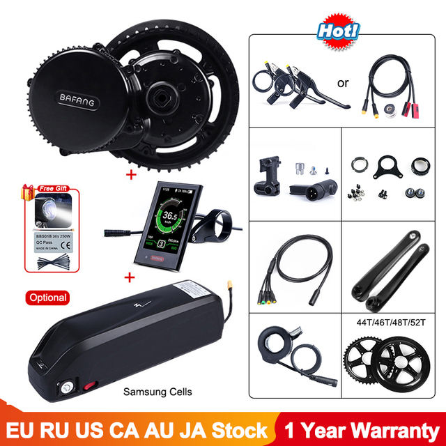 Bafang BBS02B 48V 750W Electric Bicycle Mid Drive Motor Conversion Kit E bike Engine with 12Ah 14Ah 17.5Ah battery Samsung Cells