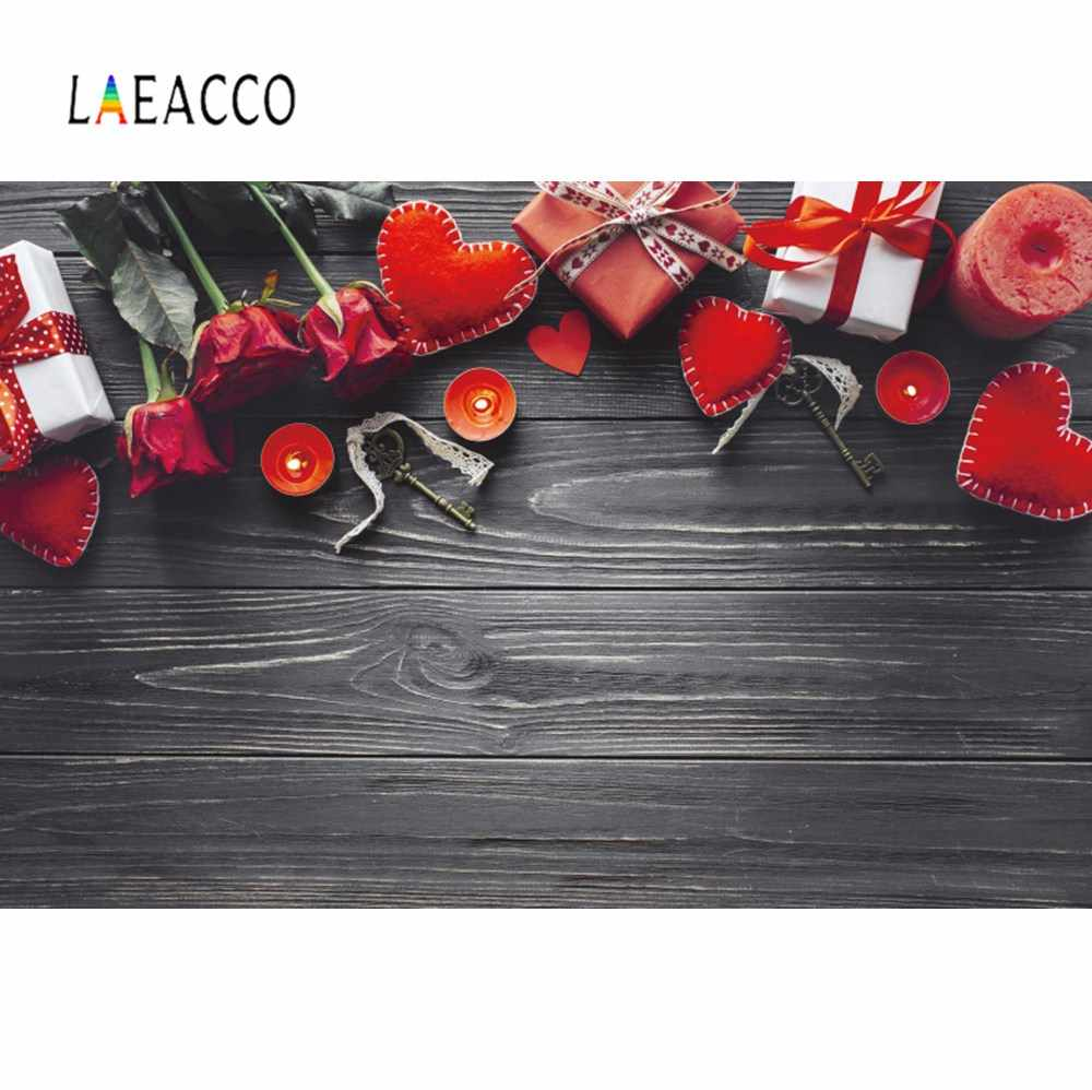 Laeacco Photo Backgrounds Happy Valentine S Day Red Rose Love Heart Gift Dark Wooden Board Photo Backdrop Photocall Photo Studio Background Aliexpress