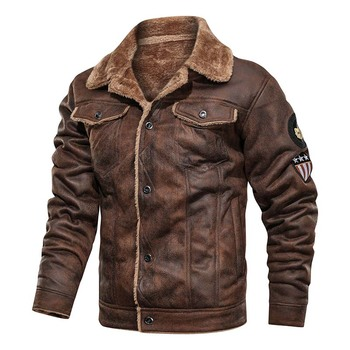 KIOVNO Men Warm Thick Leather Jackets And Coats Fleece Lined Winter Thermal Bomber Jackets Outwear For Male Size M-4XL Windbreak
