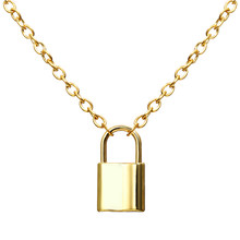 Modyle Gold Silver Color PadLock Pendant Necklaces Brand New link Chain lock Necklaces collar ras du cou collier femme women