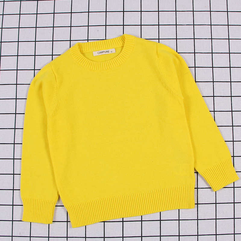2020 New Spring Kids Pullovers Tops Baby Boys Girls Pure Color Sweaters Autumn Kids Sweaters Knitted Bottoming Boys Sweaters 3