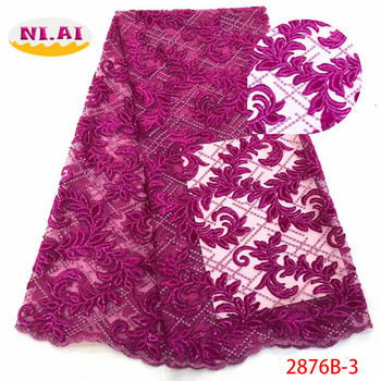 NIAI Hot Sale Velvet Lace Fabric 2019 High Quality African Lace Fabric Sequins French Lace Fabric For Evening Dress XY2876B-3