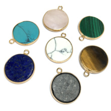 Natural Stone Lapis Lazuli Turquoises Pendant Charms Round Crystal Pendants For Jewelry Making DIY Necklace Accessories natural gem stone pendant necklace for men women oval onyx lapis lazuli pink crystal pendants 18 neck chain fashion jewelry