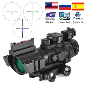 4 #215 32 Acog luneta 20mm jaskółczy ogon Reflex optyka zakres Tactical Sight dla polowanie Gun Rifle Airsoft Sniper lupa tanie i dobre opinie BESTSIGHT Karabin Czerwona kropka 4x32