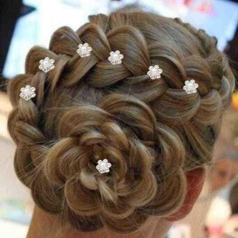 6 + 1 Pin Rambut Wanita Spiral Klip Garpu Piring Bunga Rambut Mutiara Bunga Sekrup Klip Rambut Pin Pernikahan Rambut accessorie