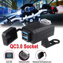 Super-Fast Charging USB Adapter ON OFF Switch Motorcycle Quick Disconnect Plug with Waterproof Dual QC-3.0 USB Fast Charger(China)