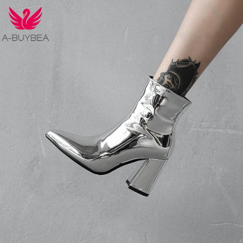 2019 New Sliver Gold Women Ankle Boots Pointed Toe Chunky High Heel Boots Mirror Metallic Women Pumps Female Sexy Stiletto Boots brand sheep skin leather mesh air pumps fashion ankle boots for women sexy pointed toe cowboy boots woman high heel summer boots