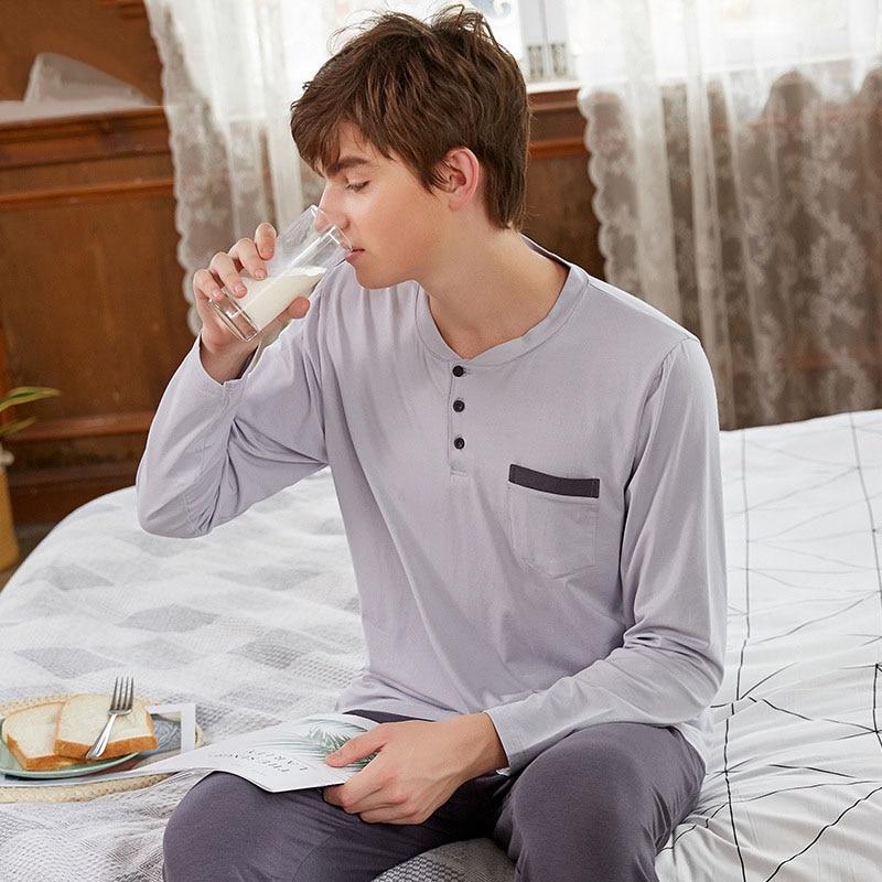 New 2019 Autumn Men Pajamas Long Sleeve Male Pajama Set Pure Full Cotton Modal Pajamas For Men Sleepwear Suit Homewear