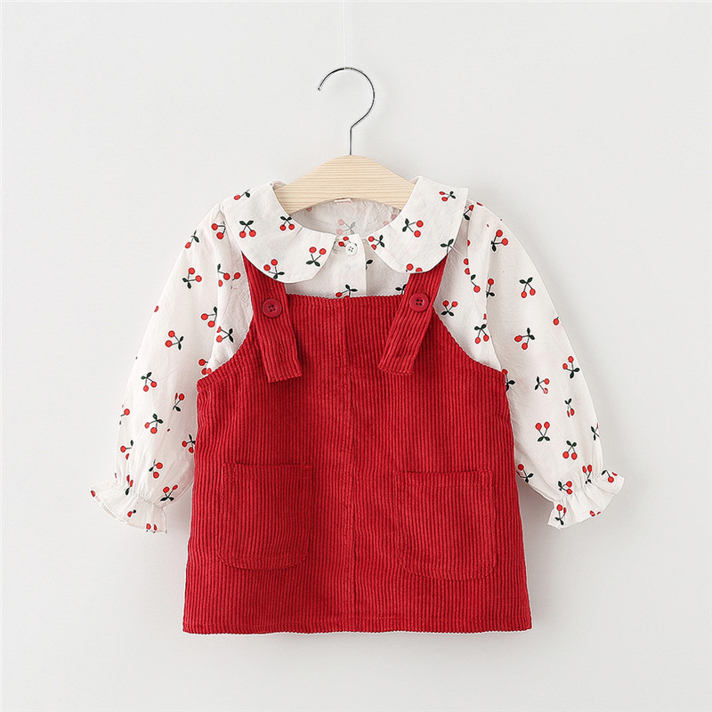 Baby Girl Dress Autumn Baby Princess Clothes Cute Print Cherry Long Sleeve T-shirt Tops With Corduroy Dress 2pcs Clothes Suits