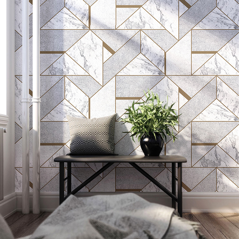 Nordic Style Grey Geometric Lattice Imitation Marble Wallpaper Roll Home Decor Living Room Bedroom Wall Covering PVC Wall Paper