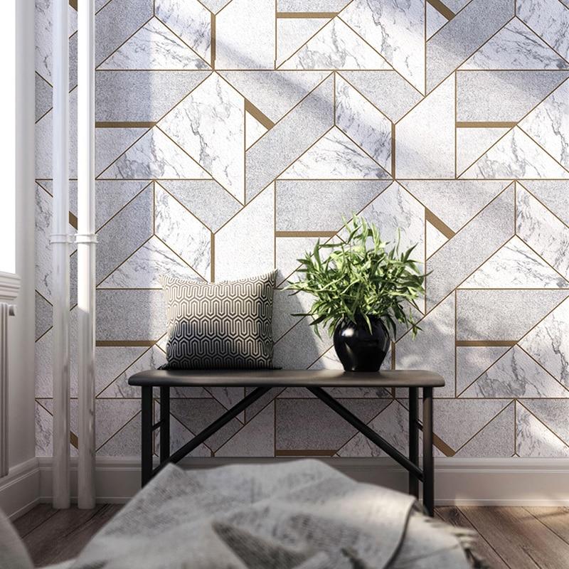 Style nordique gris géométrique treillis Imitation marbre papier peint rouleau décor à la maison salon chambre revêtement mural PVC papier peint