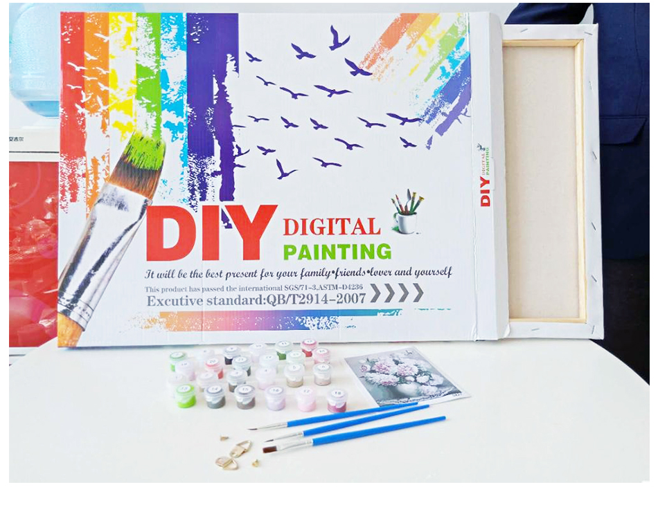 DIY Digital Painting by Numbers Kits on Canvas Lsdakoop Paint by Numbers for Adults Children White Peacock