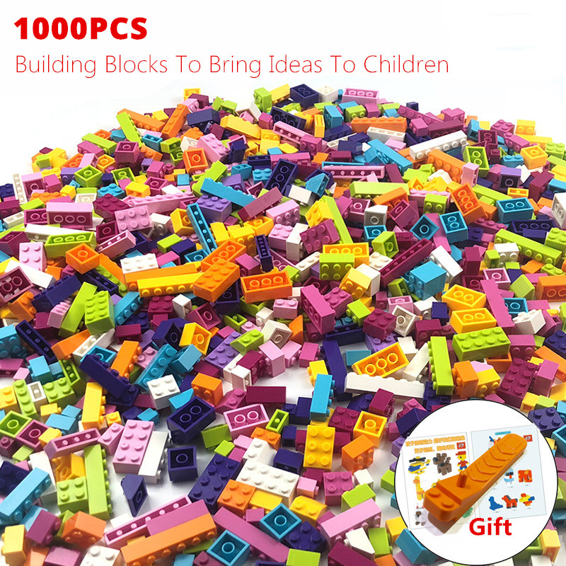 <font><b>1000</b></font> <font><b>Pcs</b></font> Colorful Building Blocks Bricks <font><b>Compatible</b></font> All Brands Toys Figures for Children Girls Birthday Christmas Gift image
