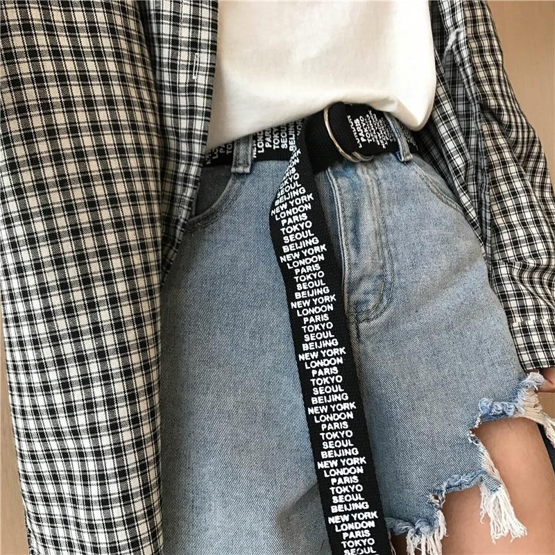 24 стиля, унисекс, холщовые ремни с буквенным принтом, d-образное кольцо, двойная пряжка, панковский ремень на талию, для женщин, мужчин, подростков, длинный широкий белый ремень