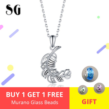 New Arrival Authentic 100% 925 sterling silver Elegant Feather Necklaces & Pendants Women Sterling Silver Jewelry For Lover Gift