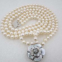 3 row 8mm White potato round freshwater pearl necklace(China)