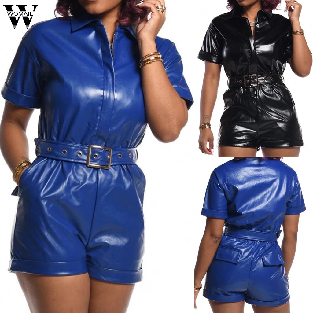 Womail Women Jumpsuit Zip Up PU Leather Sexy Turn-Down Collar Bodycon Playsuit Short Romper Black Belt Overall Street Club Party