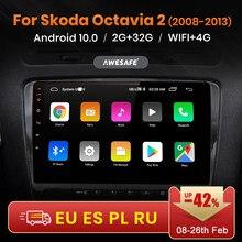 AWESAFE-reproductor Multimedia con Android 10 y GPS para SKODA, din con reproductor de vídeo autorradio 1, 2GB + 32GB, para SKODA Octavia 2 2008- 2010 2011 2012 2013 A5, PX9