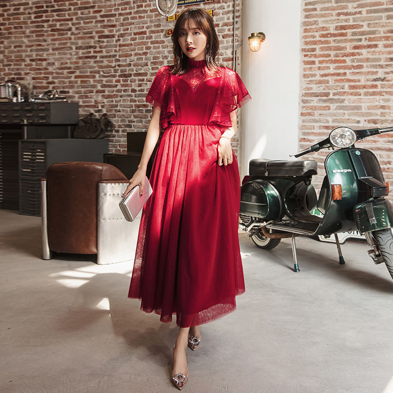 YIGELILA New Deep Wine Dress Batwing Sleeve With Lace Elegant Dress Solid Empire Ankle Length Wedding Party Dress 65324