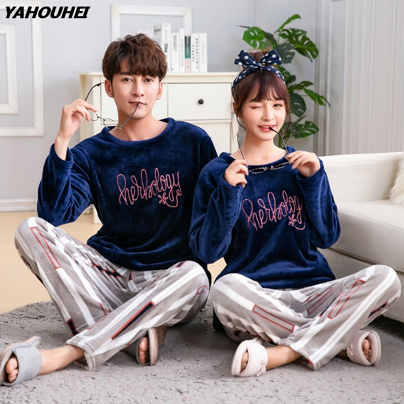Plus Size 5XL Couples Thick Warm Flannel Pajamas Sets For Women 2019 Winter Coral Velvet Pyjamas Men Sleepwear Homewear Clothing