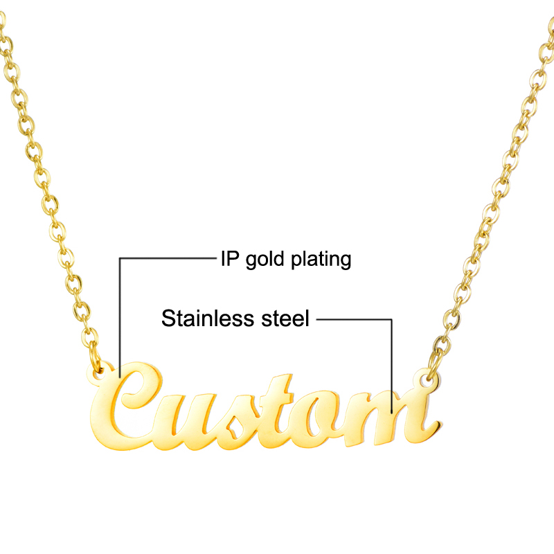 Stainless Steel Personalized Custom Name Necklaces For Women Engraved Nameplate Necklaces Gold Letters Necklace Statement Gift