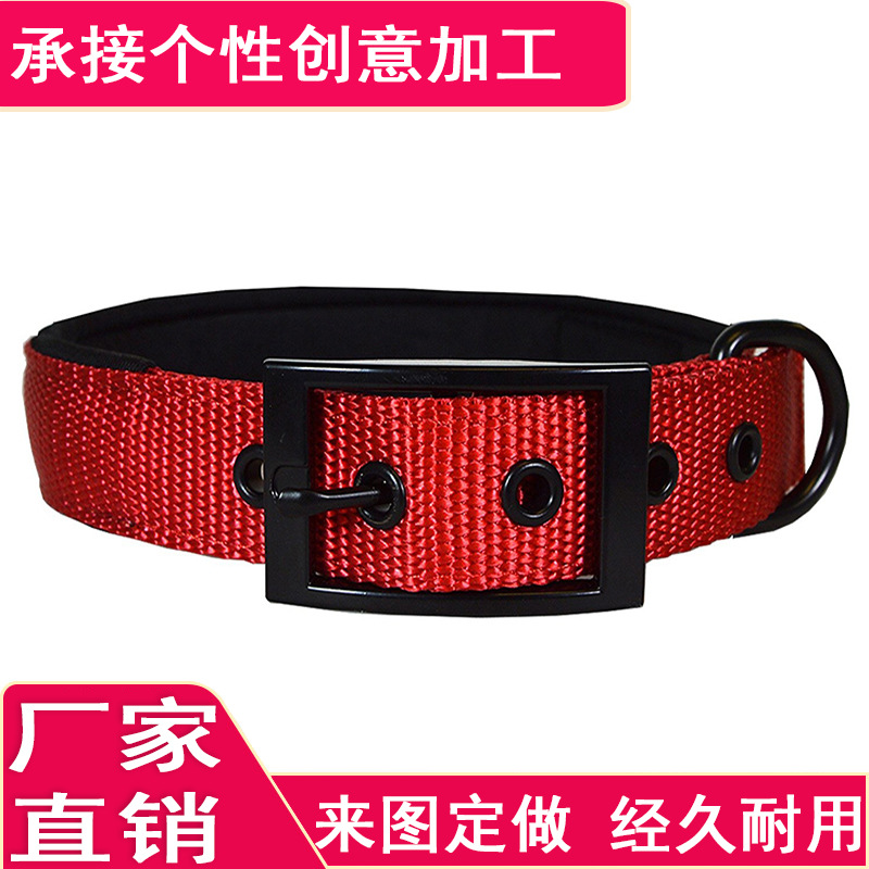 Hot Selling Outdoor Pet Supplies Nylon Pin Buckle Neck Ring Pet Collar Proof Punch Large Dog Collar