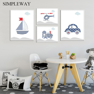 Traffic Tool Helicopter Car Child Poster Enlightenment Nursery Wall Art Print Canvas Painting Nordic Kids Decoration Picture