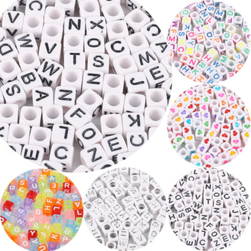 200pcs 6mm DIY Acrylic Alphabet Letter Cube Beads For Jewelry Making Bracelets Necklaces Children's Education Toy
