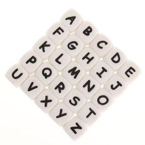 Image 1 - Fkisbox 200Pcs Alfabet Siliconen Engels Letters Kralen Kubus Bpa Gratis Baby Bijtringen Gepersonaliseerde Naam Diy Knaagdieren Tandjes Hanger