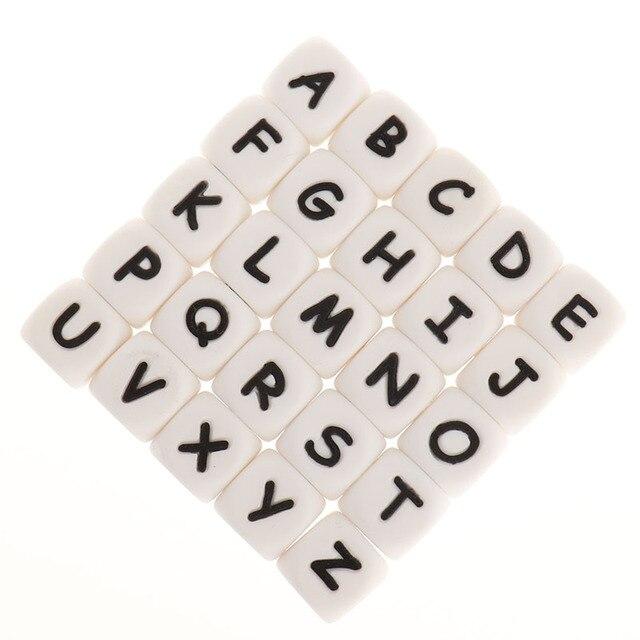 Fkisbox 200Pcs Alfabet Siliconen Engels Letters Kralen Kubus Bpa Gratis Baby Bijtringen Gepersonaliseerde Naam Diy Knaagdieren Tandjes Hanger