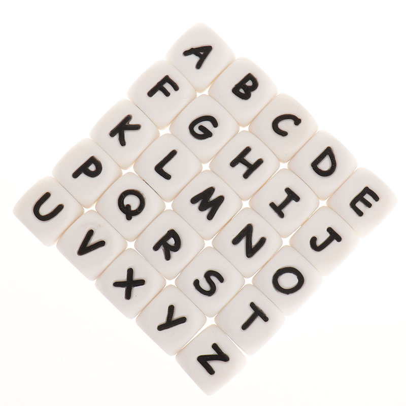 Fkisbox 200pcs Alphabet Silicone English Letters Beads Cube BPA Free Baby Teethers Personalized Name DIY Rodent Teething Pendant