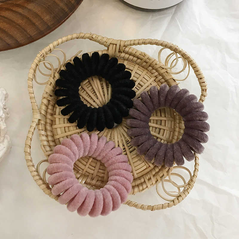 Telephone Wire Flocked Knit Solid Elastic Rubber Bands Hair Rope Scrunchies Haar Hair accessories Hair Ring Ties Women Girls
