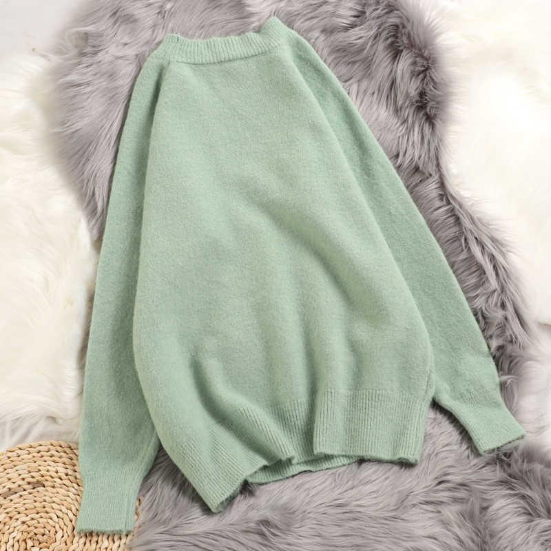 Hirsionsan зимний женский свитер Harajuku сплошной цвет пуловер утолщаются повседневные новые трикотажные свободные Одежда стрейч теплые женские топы