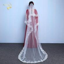 Самый дешевый в наличии длинные свадебные фаты белый слоновая кость 1T свадебные края шнурка свадебная аксессуары невесты ВЭУ