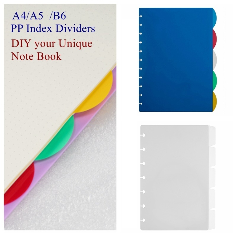 A4/A5/B6 Colorful Index Planner Dividers With Mushroom Holes Journal Dividers For Binders  Discbound Notebooks Accessories