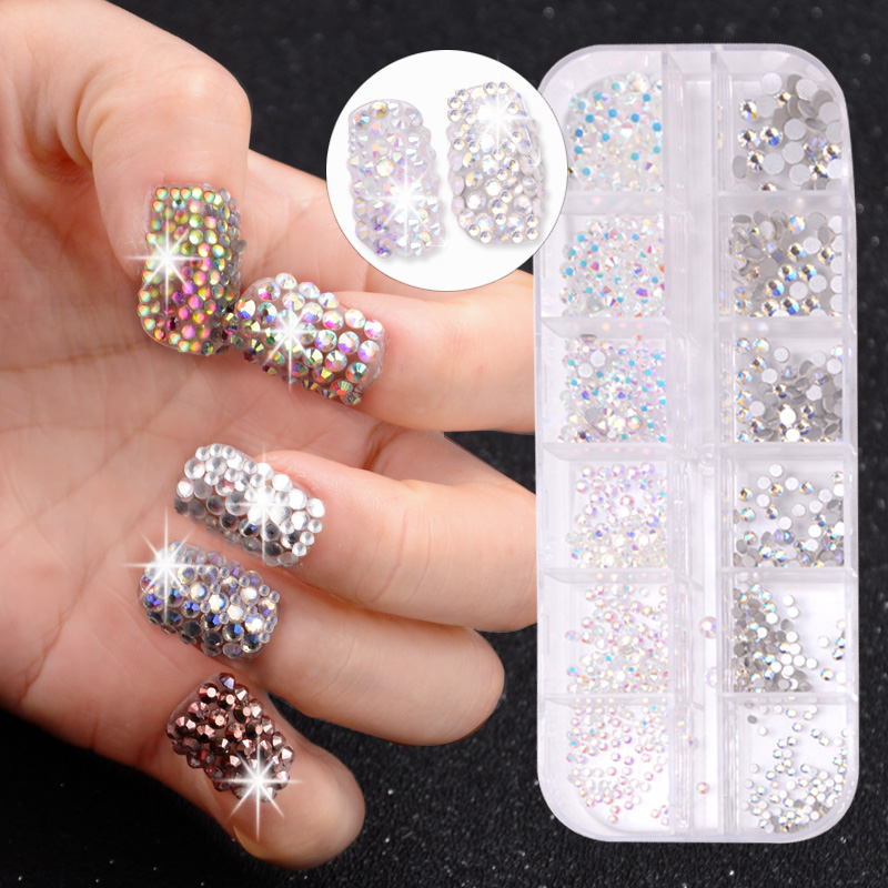 12 Boxes / Set of AB Crystal Rhinestone Diamond Gem 3D Glitter Dazzling Colours Nail Art Decoration Beautiful Girls 2