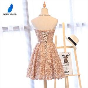 Image 2 - DEERVEADO XYG702 אונליין מתוקה קצר שמלות נשף 2020 סקסי ללא משענת שרוכים באורך הברך מסיבת שמלות לנשף שמלת אמיתי תמונות