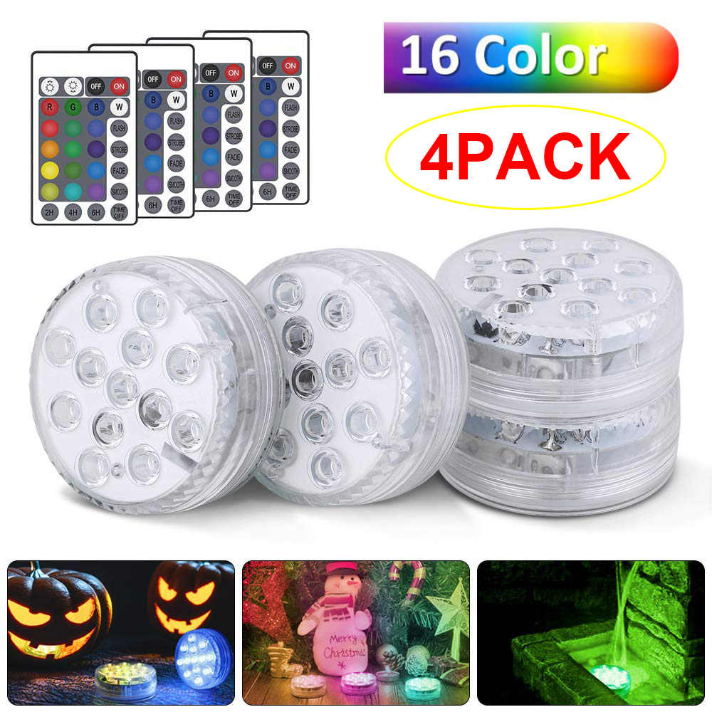 16Color Submersible LED Lights Aquarium Light AAA Battery IP68 waterproof/1m Underwater LED Night Light Remote control D35